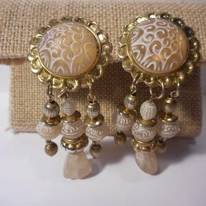 Vintage Blush Chandelier Style Clip Earrings